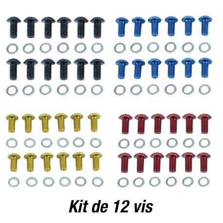 Kit 12 vis anodisées Quaxar pour disque VTT - vélo - trottinette électrique.