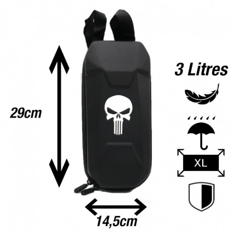 Sacoche guidon trottinette électrique TrottPak. Design: tête de mort.