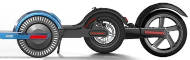 Trois types de pneu trottinette électrique: plein, à trous à chambre à air