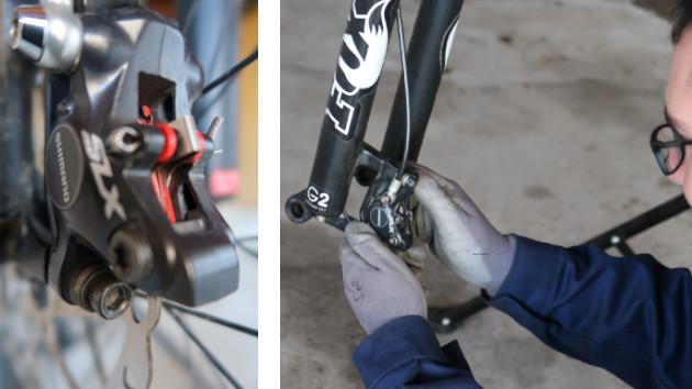 Zoom sur étrier de frein VTT Shimano SLX - Mécanicien changeant ses plaquettes de freins VTT