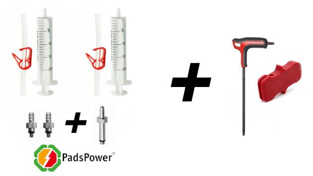 Outils : clé torx - kit purge frein ZOOM HB-875 de chez PadsPower - cale