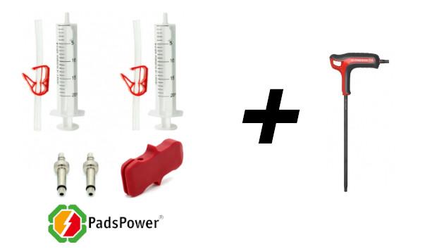 Outils : clé torx - kit purge frein NUTT de chez PadsPower - cale