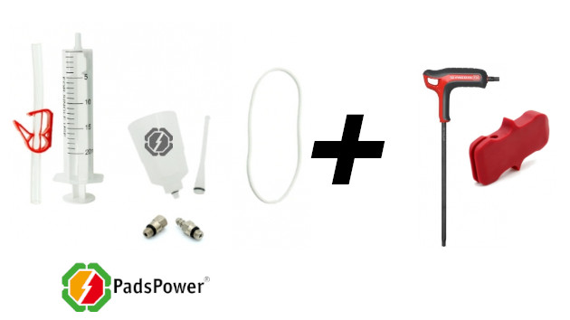 Outils : clé torx - kit purge frein Tektro de chez PadsPower - cale