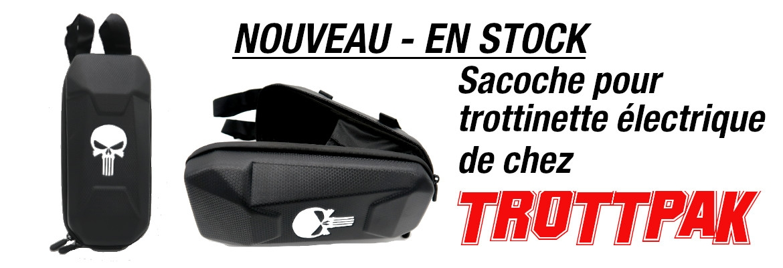 Sac pour trottinette électrique de la marque TrottPak - Design : tête de mort.